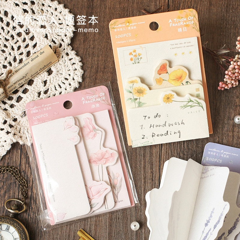 Good Mood Removeable Papers Office School Memo Notes Pads Cute Tear off Stickers Pocket Small Notepad