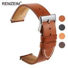 Ремешок REMZEIM из натуральной кожи для наручных часов, быстросъемный браслет с серебристой стальной пряжкой, 16 мм 18 мм 20 мм 22 мм 24 мм