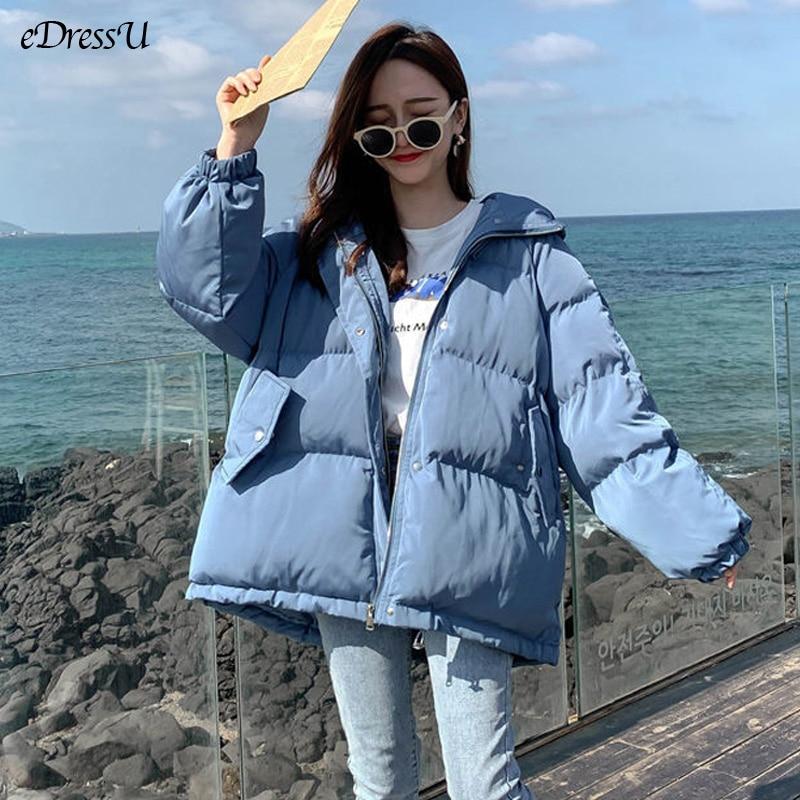 EDressU 2021 الكورية الشتاء سترة المرأة مقنعين كبيرة الحجم القطن وسادة مبطنة الأزرق الدافئة سترات عالية الجودة فضفاضة أسفل معطف SY-1
