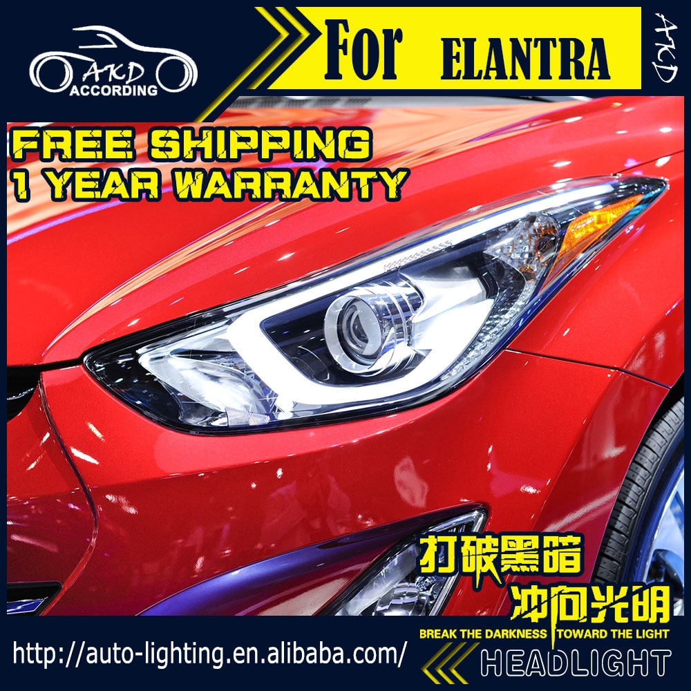 Faro delantero AKD para faros Hyundai Elantra 2011-2016 LED DRL D2H Hid halógeno intermitente haz de Bi Xenon