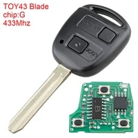 433mhz 2 buttons remote auto car key replacement g chip toy43 blade fit for toyota rav4 prado tarago kluger avensis 2003 2010