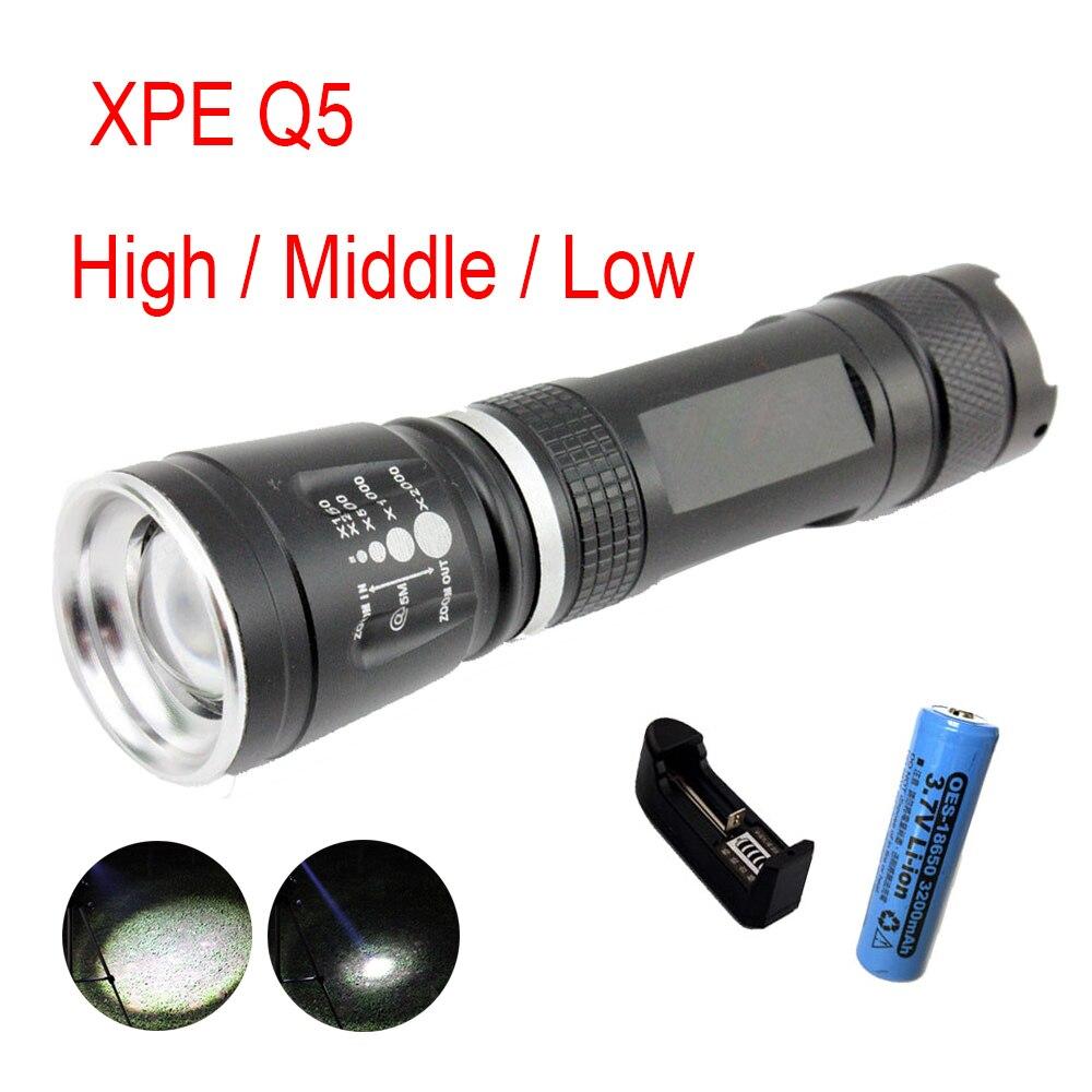 Protable Q5 Lanterna LED Flash de Luz Da Lâmpada Zoomable Tocha Lâmpadas Com 16850 Carregador de Bateria AC Lampe Torche