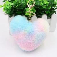 love cute fur ball bag pendant keychain colorful simulation fur peach heart ladies car keychain soft faux rabbit fur keychain