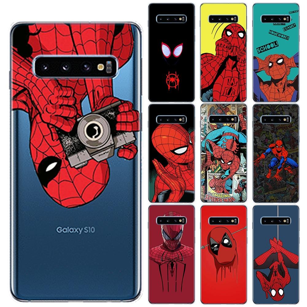 Hombre Araña Super héroe TPU cubierta de la caja para Samsung Galaxy S6 S7 borde S8 S9 S10 S20 Plus Ultra 5G S10E Nota 10 Pro 9 8 M10 M20 M30