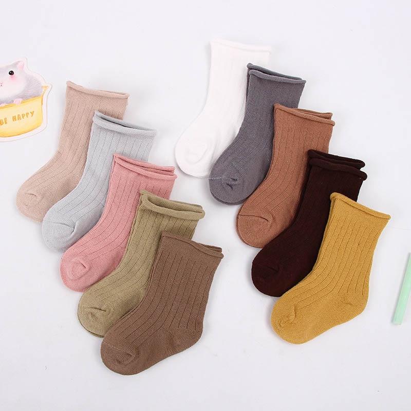 5 par/lote 0-9 años bebé niño calcetines de algodón niños y niñas Primavera Verano otoño corto recién nacido calcetines de Color sólido