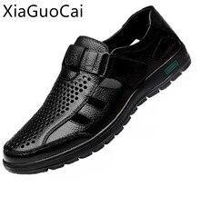 Été en cuir véritable hommes sandales respirant évider classique hommes sandales plates en caoutchouc solide en cuir mâle sandales décontractées