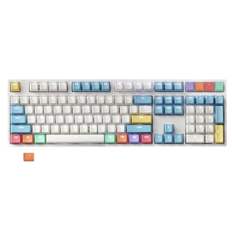 108 مفاتيح تصميم الطباشير الملونة PBT أغطية مفاتيح بإضاءة خلفية لكرز Mx لوحة المفاتيح Keycap دروبشيب