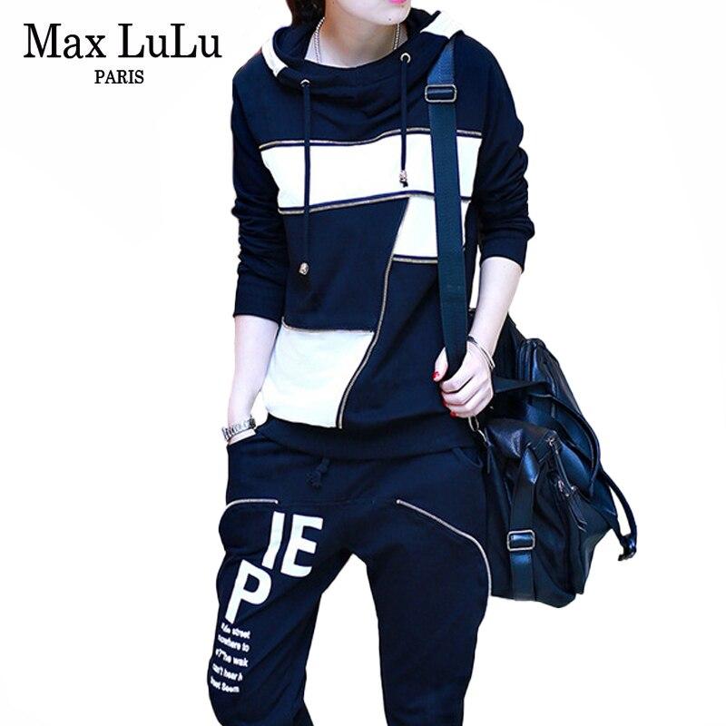 ماكس لولو جديد 2020 الربيع موضة السيدات عادية المرقعة قطعتين مجموعات النساء قمصان سويت شيرت بقلنسوة وسراويل ملابس الشارع الشهير رياضية