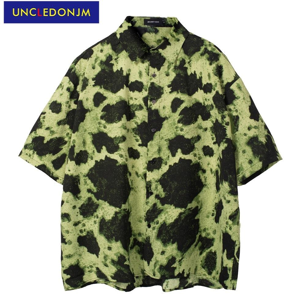 Шикарная Корейская одежда UNCLEDONJM, рубашки с принтом для мужчин, модная одежда, модная пляжная рубашка, летняя рубашка на пуговицах, повседнев...