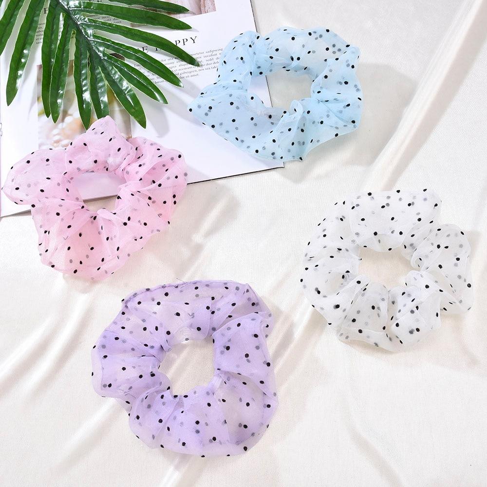 New Mesh Gauze Hair Band Simple Dot Transparent Accessories Elastic Rubber Ring Girl Headdress