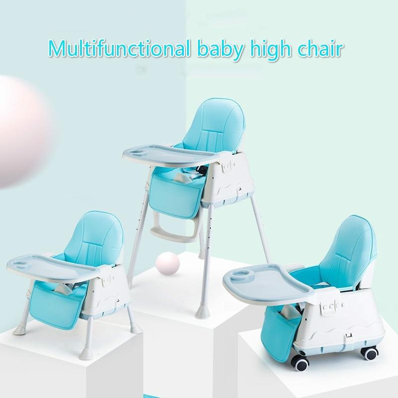 Silla de alimentación de bebé para niños, comedor con silla de ruedas, mesas Macaron multifunción, ajuste de altura, portátil con mesas de juego
