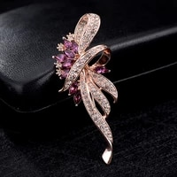 korean graceful zircon feather brooch female suit corsage simple cardigan pin autumn and winter coat accessories