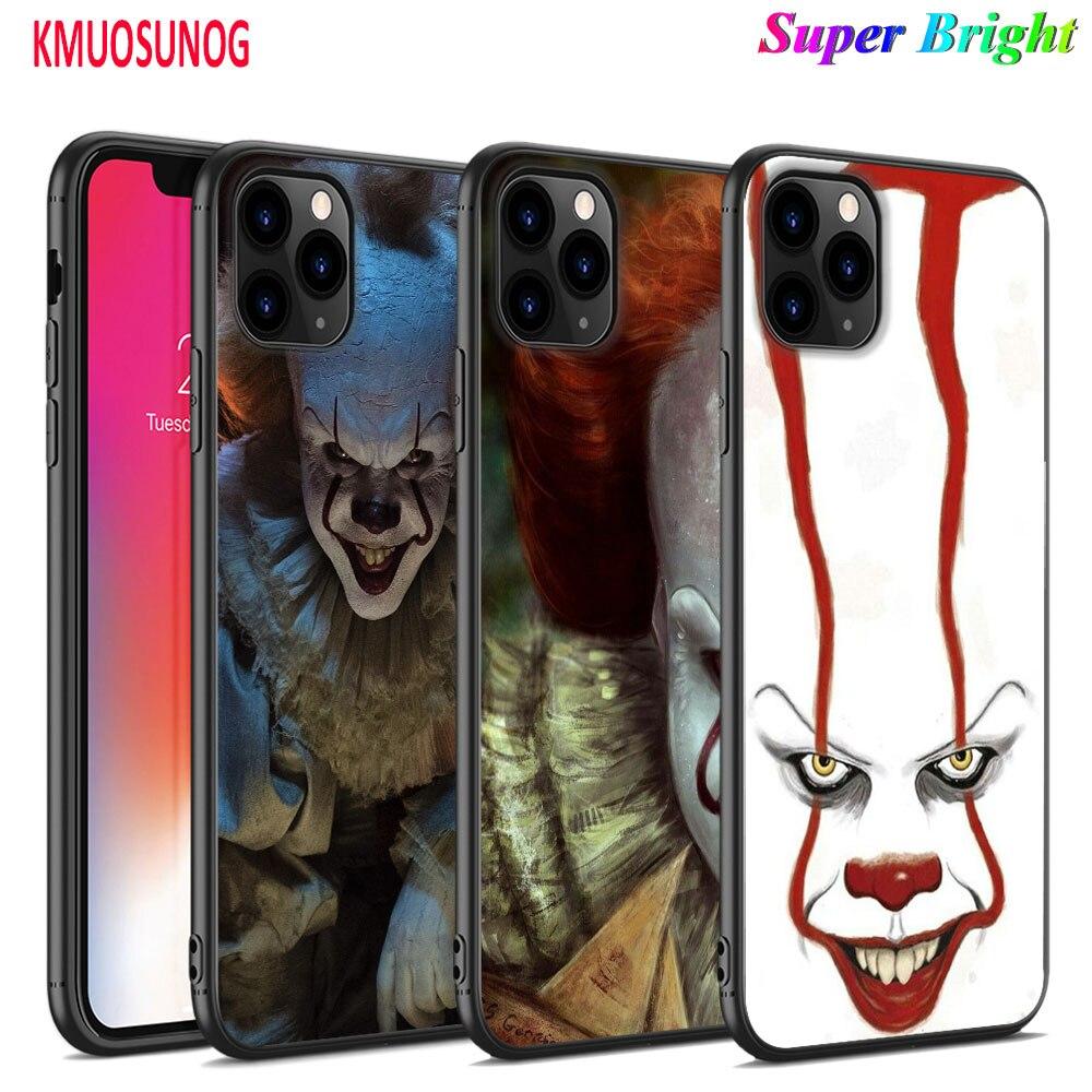 Funda de silicona negra payaso Pennywise horror para iPhone 11 11Pro XS MAX XR X 8 7 6S 6 Plus 5S funda de teléfono brillante