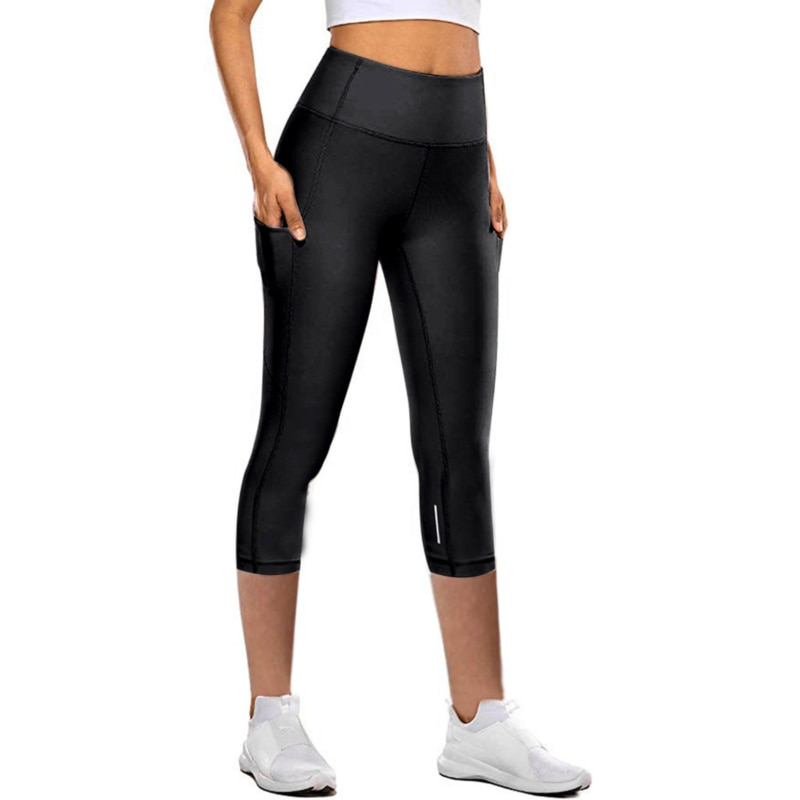 Fit Woman Workout Capri Fitness Leggings With Side Pocket High Waist Running Yoga Pants Sport wear L
