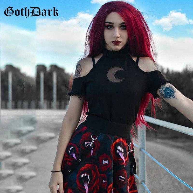 Goth escuro vintage grunge gótico t-shirts mulheres harajuku sem encosto cabresto punk outono inverno 2019 laço lua camiseta feminina chique