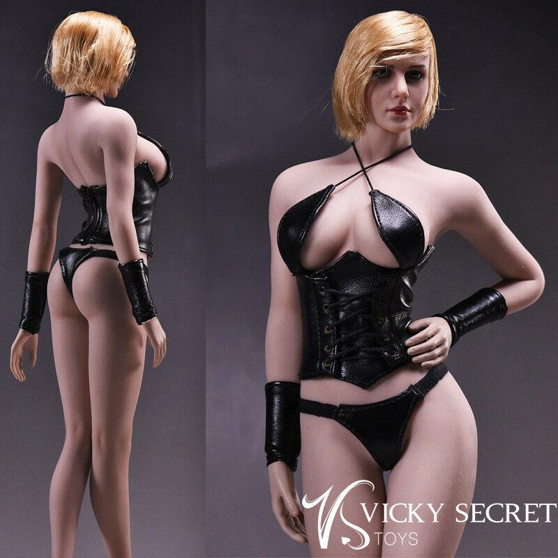 VStoys 1/6th noir Sexy sous-vêtements en cuir 17XG07 vêtements F 12 Phicen Body