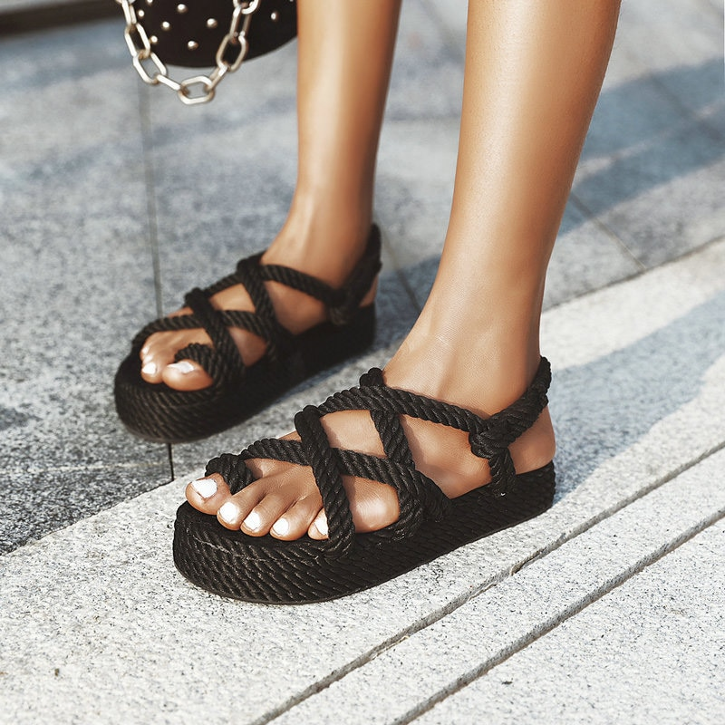 Women Retro Gladiator Sandals Ladies Slip On Platform Slides Hemp Woman Clip Toe Female Soft Causal Comfort Female Shoes 2020
