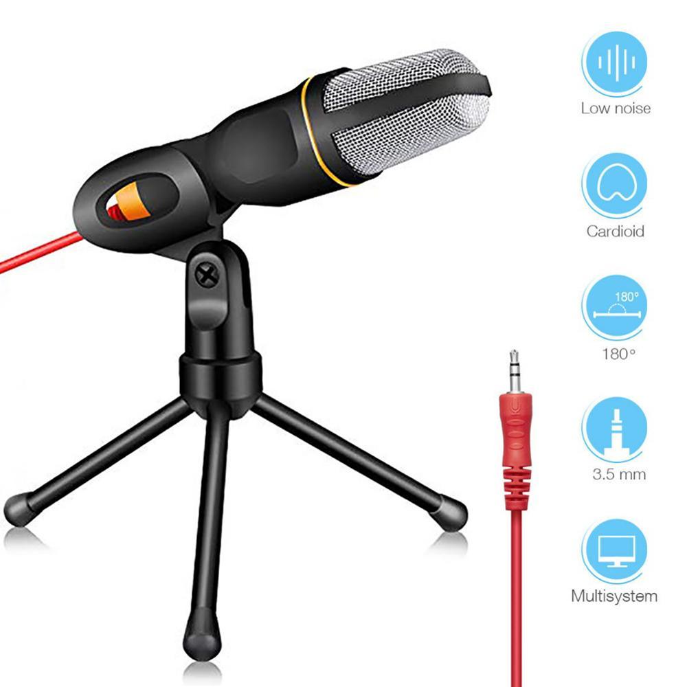 3.5mm plug microfone estéreo desktop tripé condensador microfone para pc youtube vídeo skype chat gaming podcast gravação