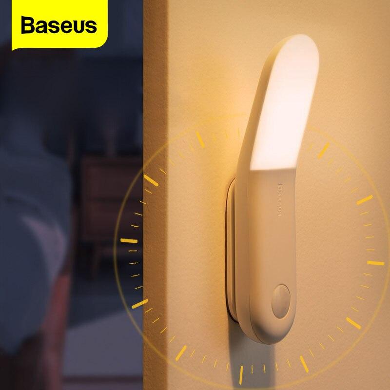 Светодиодный светильник с пассивным инфракрасным датчиком движения Baseus, автоматический индукционный ночсветильник для коридора, прикрова...