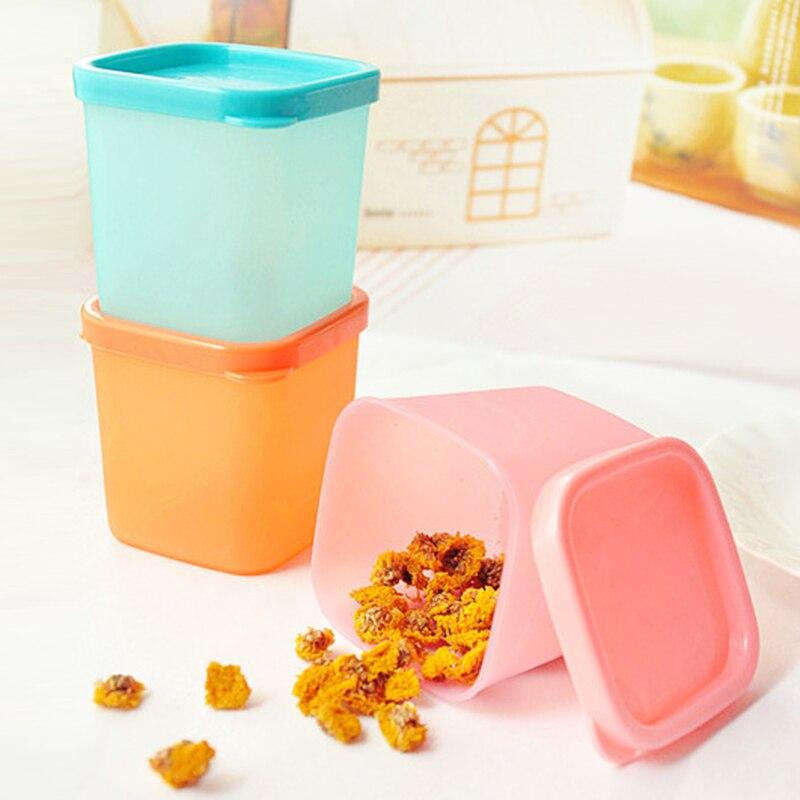 1 pçs cozinha microondas forno escritório recipiente de alimentos armazenamento geladeira condimento mais nítido recipiente de armazenamento de alimentos 3 cores tslm1