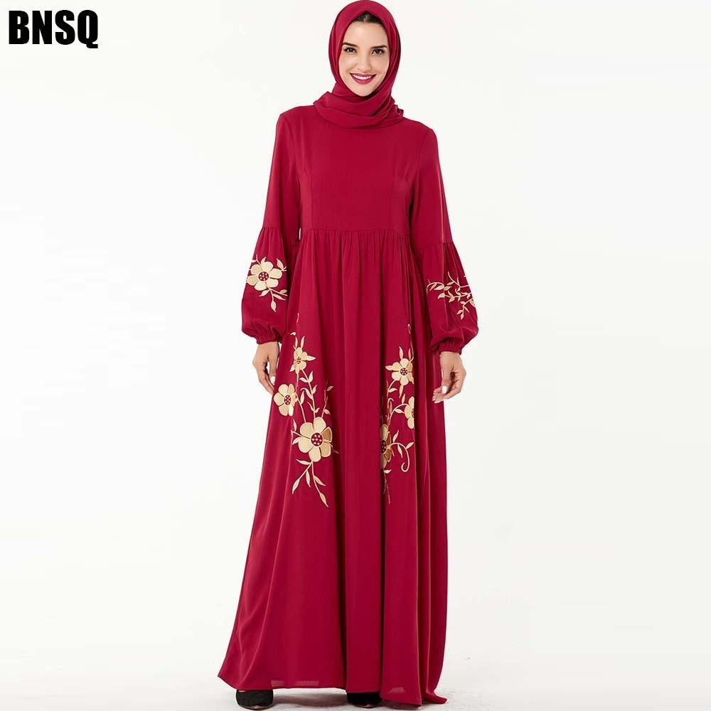 BNSQ Abaya Vestido Dos Muçulmanos Vestuário Caftan Jilbab Bordado Maxi Kaftan Dubai marroquino Turquia Bangladesh Oma Indiano Robe Vestido