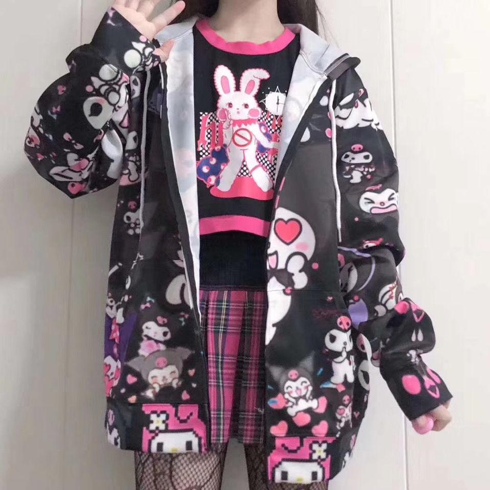 Japanischen Kawaii Mädchen Kuromi Jacke Hausgemachte Nette Schwarz Süße Jacke Frühling JK Uniform Strickjacke Harajuku Mäntel und Jacken Frauen