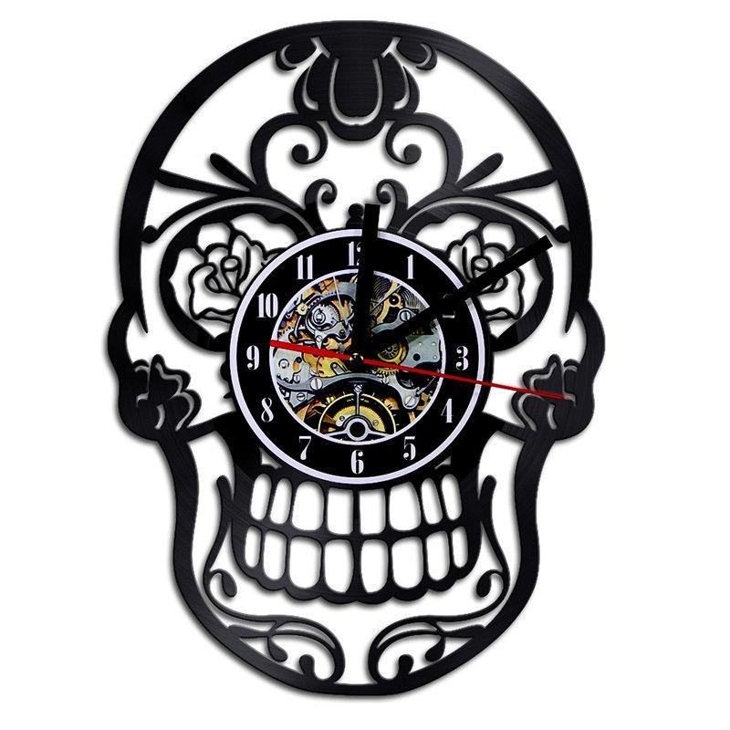 "Reloj de pared de vinilo Reloj de pared de diseño moderno flores azúcar cráneo clásico CD colgante Relojes de pared pegatinas 3D decoración del hogar silencioso 12"""