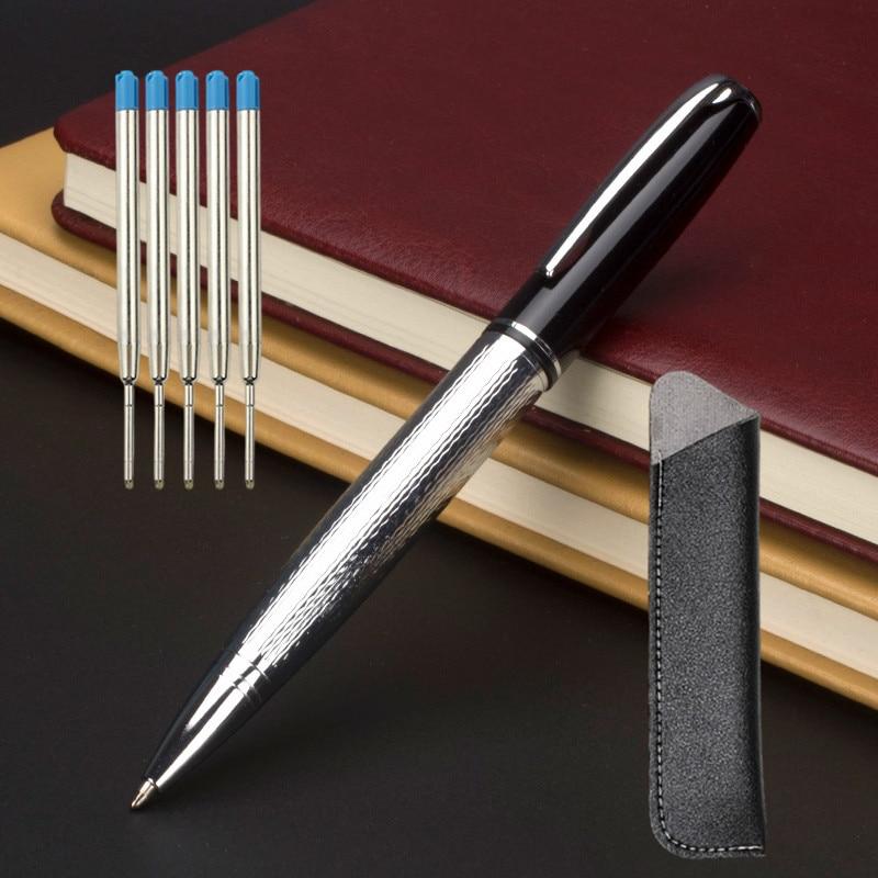 Металлическая шариковая ручка 0,7 мм цвета: золотистый, серебристый Роскошная бумажная коробка подарка ручки для канцелярские принадлежнос...