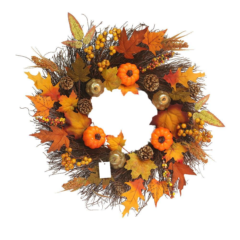 Caliente 45cm corona otoño cosecha hoja de arce calabaza puerta frontal corona puerta del hogar Decoración Acción de Gracias suministros de fiesta con led