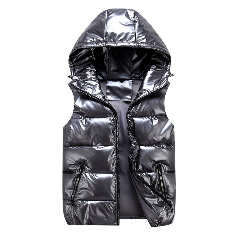 جاكيت بلا إكمام للرجال موضة لامعة سترة الشتاء الدافئة هود جيوب القطن مبطن الزوج أحمر أسود الخريف أسفل صدرية الذكور