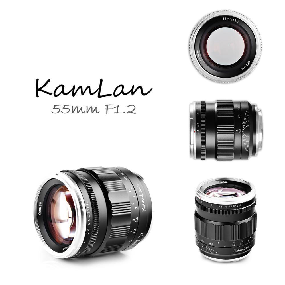 Lente fija de enfoque Manual de gran apertura Kamlan 55mm f1.2 marco completo para Sony e-mount para Canon para Nikon