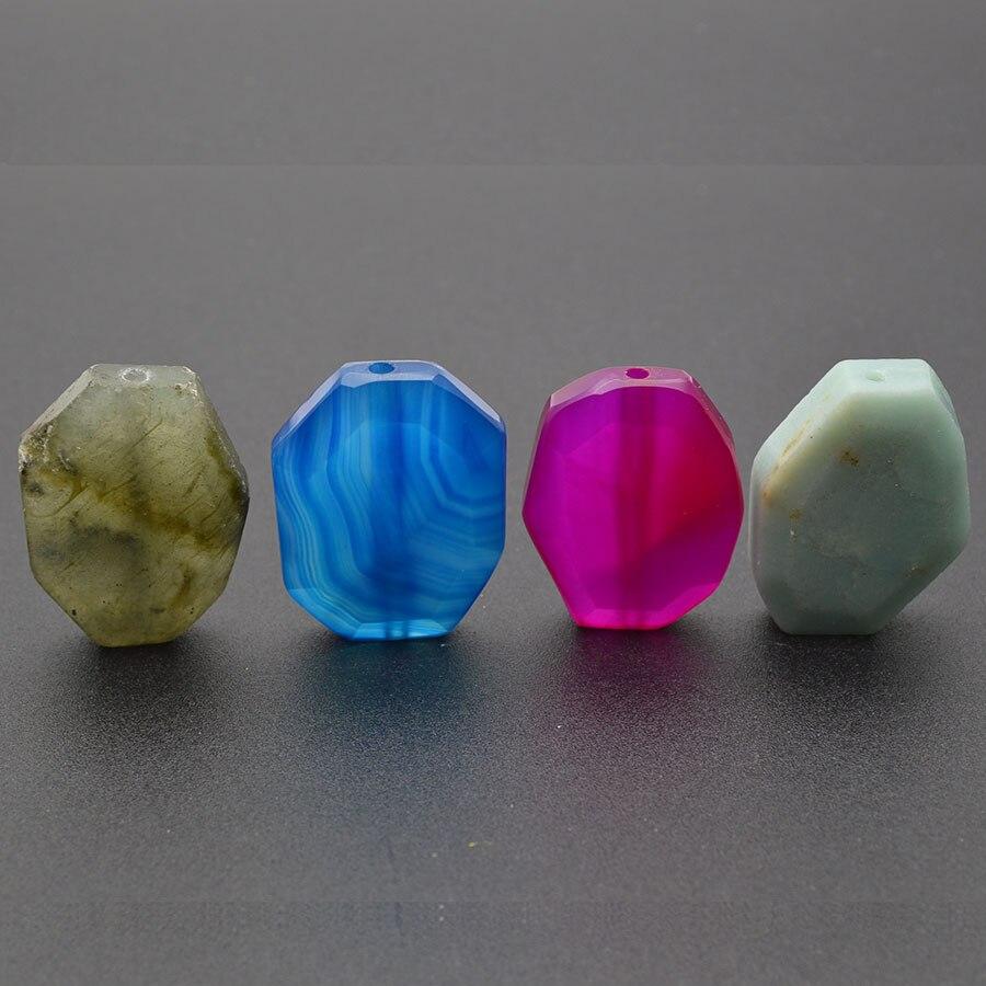 Pierre naturelle smei-précieuse à facettes dalle pépite forme perles en vrac bleu Rose rouge Agate Amazonite Rose Quartz pour la fabrication de bijoux