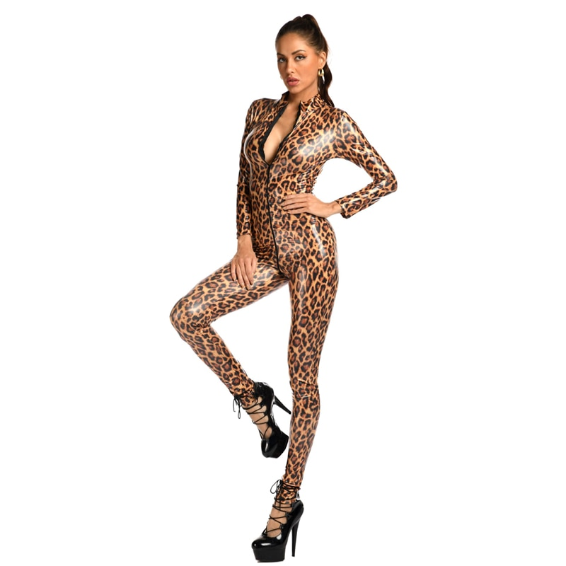 Sexy Leopard Leather Lingerie Dress Bodysuit Motocross Clothing Jacket with Zipper Erotic Faux Catsuit Body Suits Woman