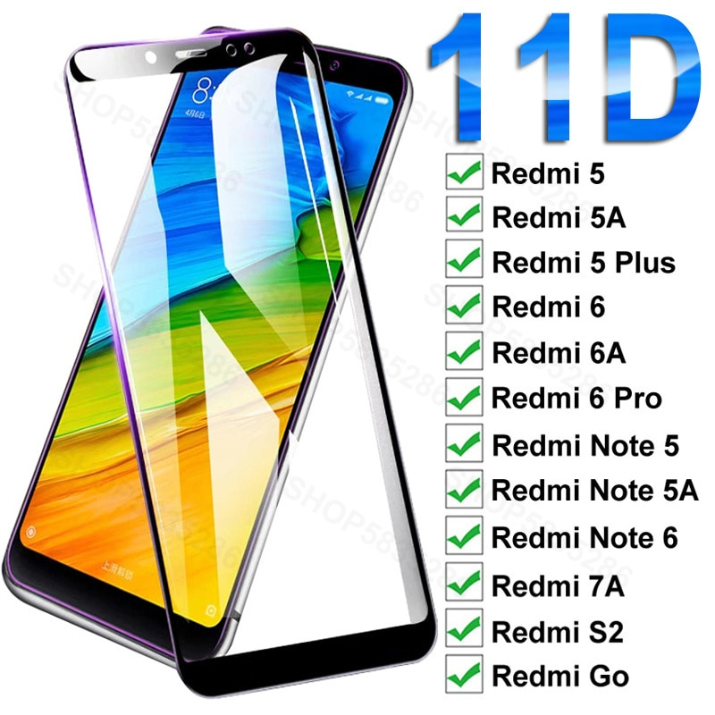 Protector de pantalla de vidrio templado 11D para Xiaomi Redmi 5 Plus,...
