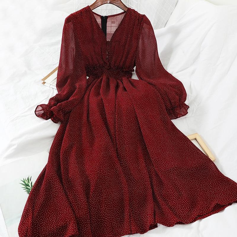 2019 new fashion women's clothing V-neck wave dress winter dress M338