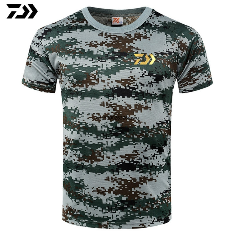 Новая футболка для рыбалки, футболка для рыбалки и сердцебиения, футболка для рыбалки Daiwa, базовая мужская Милая хлопковая камуфляжная футб...