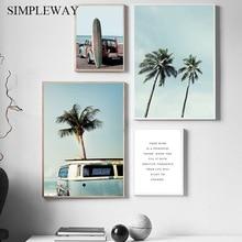 Planche de surf affiche de paysage en Bus   Palmier, arbre de Bus, décoration docéan Tropical, toile dart murale, peinture nordique, décoration de maison