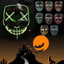 Horror Luminous Mask Grimace EL Wire Carnival Party Club Bar Halloween Prop