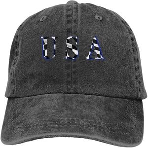 Classic Checkered Flag Sports Denim Cap Adjustable Unisex Plain Baseball Cowboy Snapback Hat