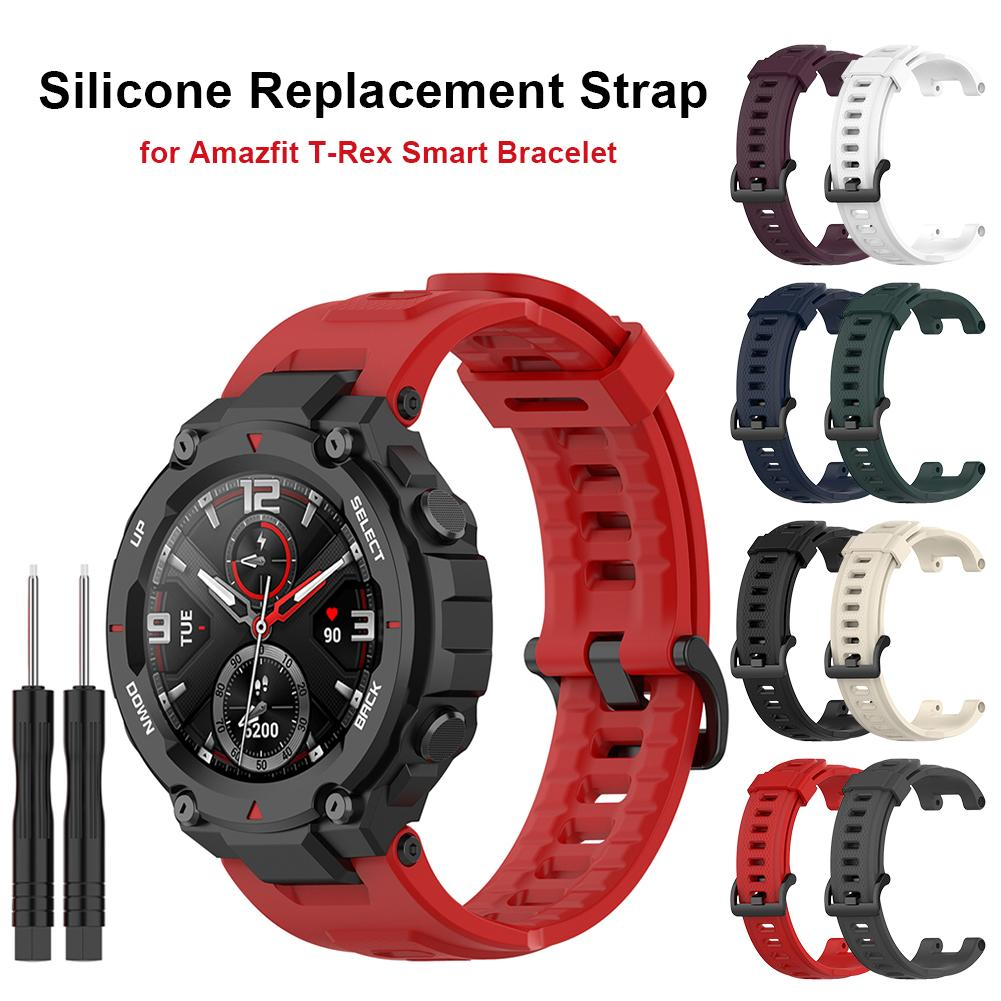 smart watch band for amazfit t rex pro silicone replacement bracelet accessories for amazfit t rex strap watchband with tool Rondaful Soft Silicone Watch Band For Amazfit T-Rex Smart Watch Bracelet Replacement Wristband Adjustable Sports Watch Strap
