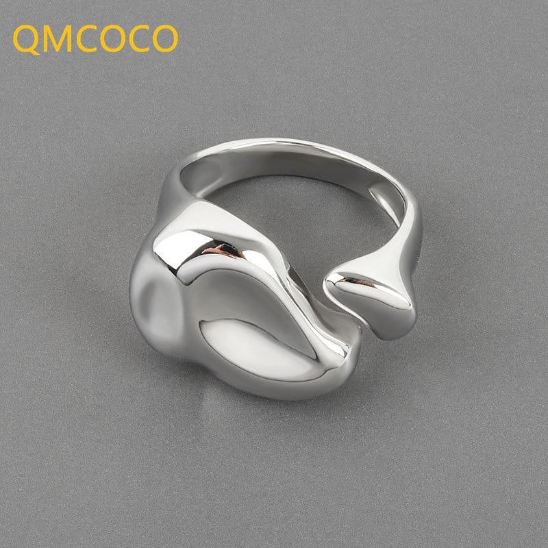 qmcoco-минималистский-925-Серебряные-кольца-для-женщин-Новая-мода-капли-воды-ручной-работы-на-день-рождения-вечерние-палец-ювелирные-изделия-в
