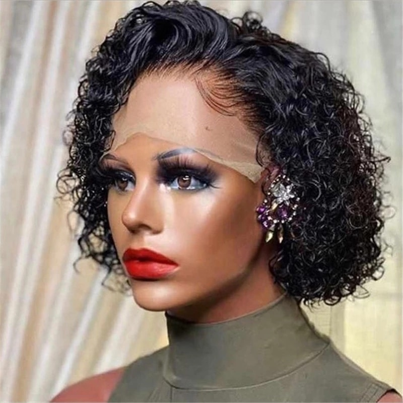 """250% Pixie Cut Short Curly Wig 13x6x1 Side Part Lace Human Hair Wigs Brazilian Remy 8""""Inch Human Hair PrePlucked With Baby Hair"""
