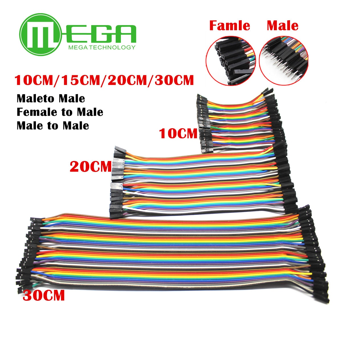 10ROW=400pcs Dupont Line 40Pin Male to Male + Male to Female and Female to Female Jumper Wire Dupont Cable for Arduino DIY KIT