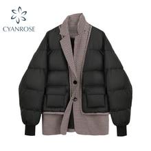 Women's Down Jacket 2021 Winter Parkas Short Coat Thick Cotton Padded Parka Female Patchwork Jacket