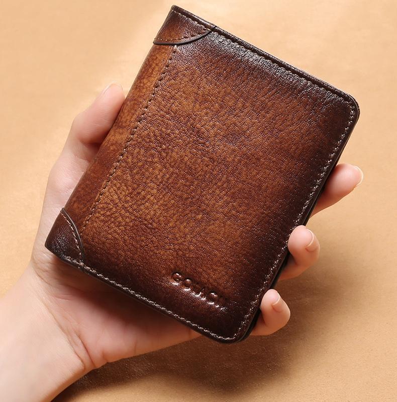 Carteiras de Couro Genuíno dos Homens Titular do Cartão Masculino Moda Novo Crédito Rfid Vintage Marrom Couro Curto Bolsas Alta Qualidade
