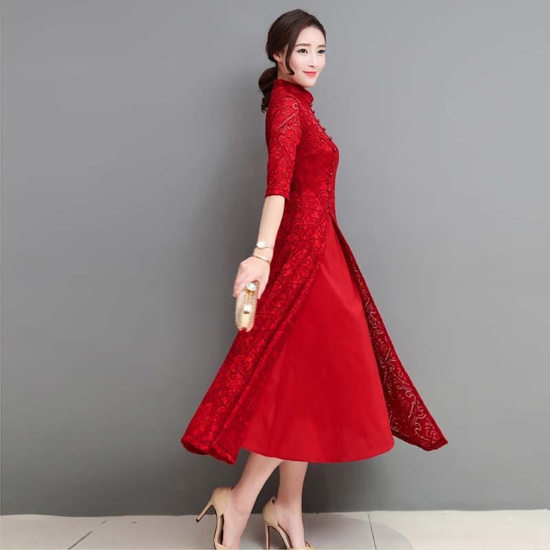 Primavera Verano elegante Retro vestido tradicional chino seda algodón Cheongsam mujer boda China Oriental vietnam ao dai