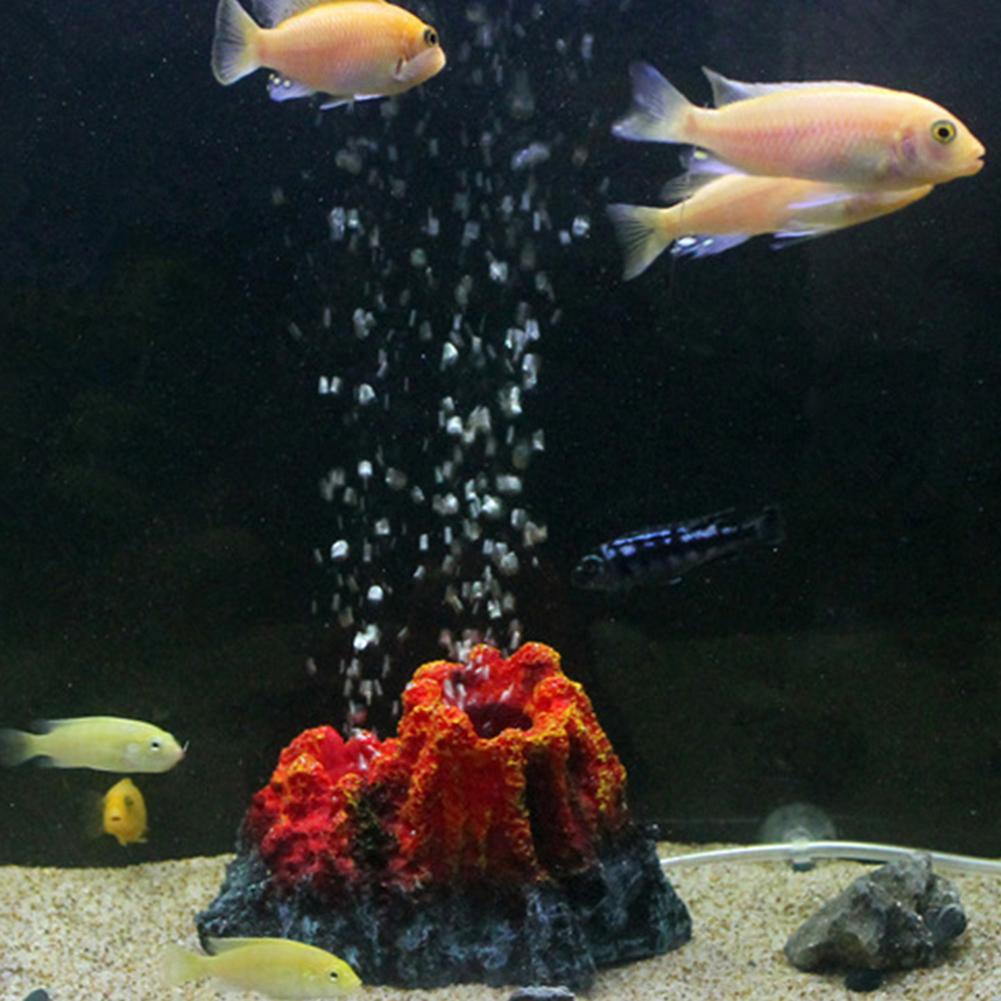 Pecera con forma de volcán resina burbuja de aire piedra bomba de oxígeno acuario ornamento
