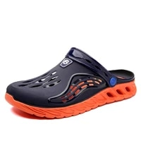 odorless men%e2%80%99s sandals summer crocks high quality rubber wood sole soft sole garden shoes crok beach flat slippers jelly shoes