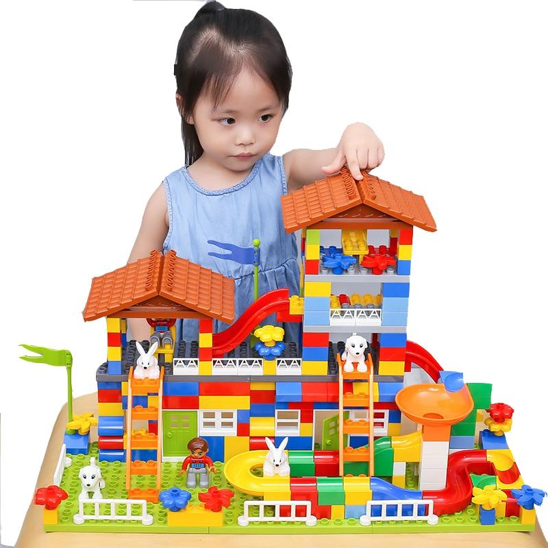 Big Size Slide Building Blocks House Roof Big Particle Assembly Castle DIY Bricks Educational Toy Kids Gifts недорого