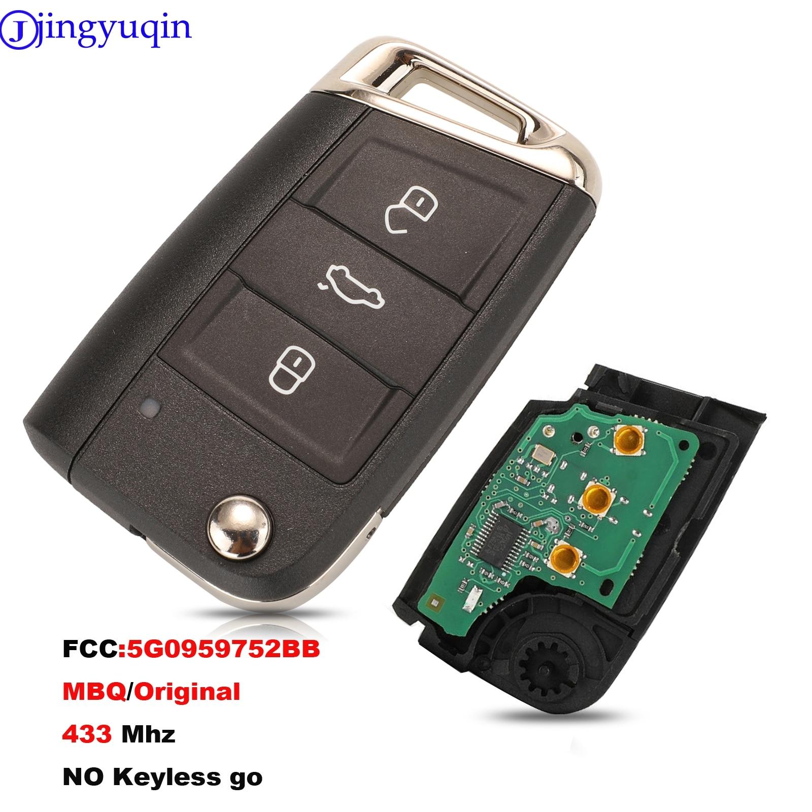 Jingyuqin 433Mhz 3 أزرار مفتاح السيارة عن بعد ل VW Golf 7 MK7 سكودا اوكتافيا A7 مقعد 5G0959752BB MBQ الأصلي لا الذهاب بدون مفتاح